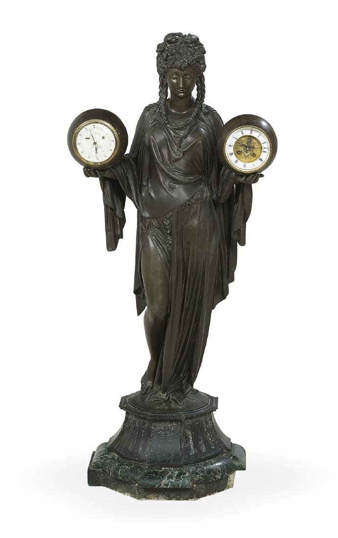 French Spelter Double-Ball Clock/Barometer