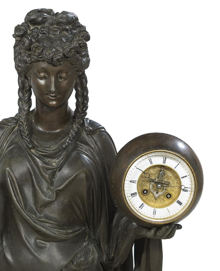 French Spelter Double-Ball Clock/Barometer - 4