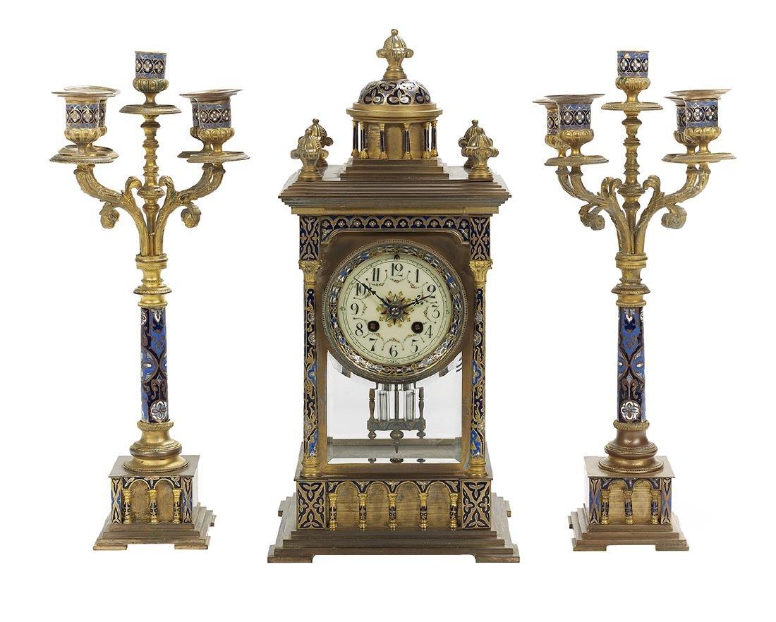 French Bronze and Enamel Three-Piece Clock Set