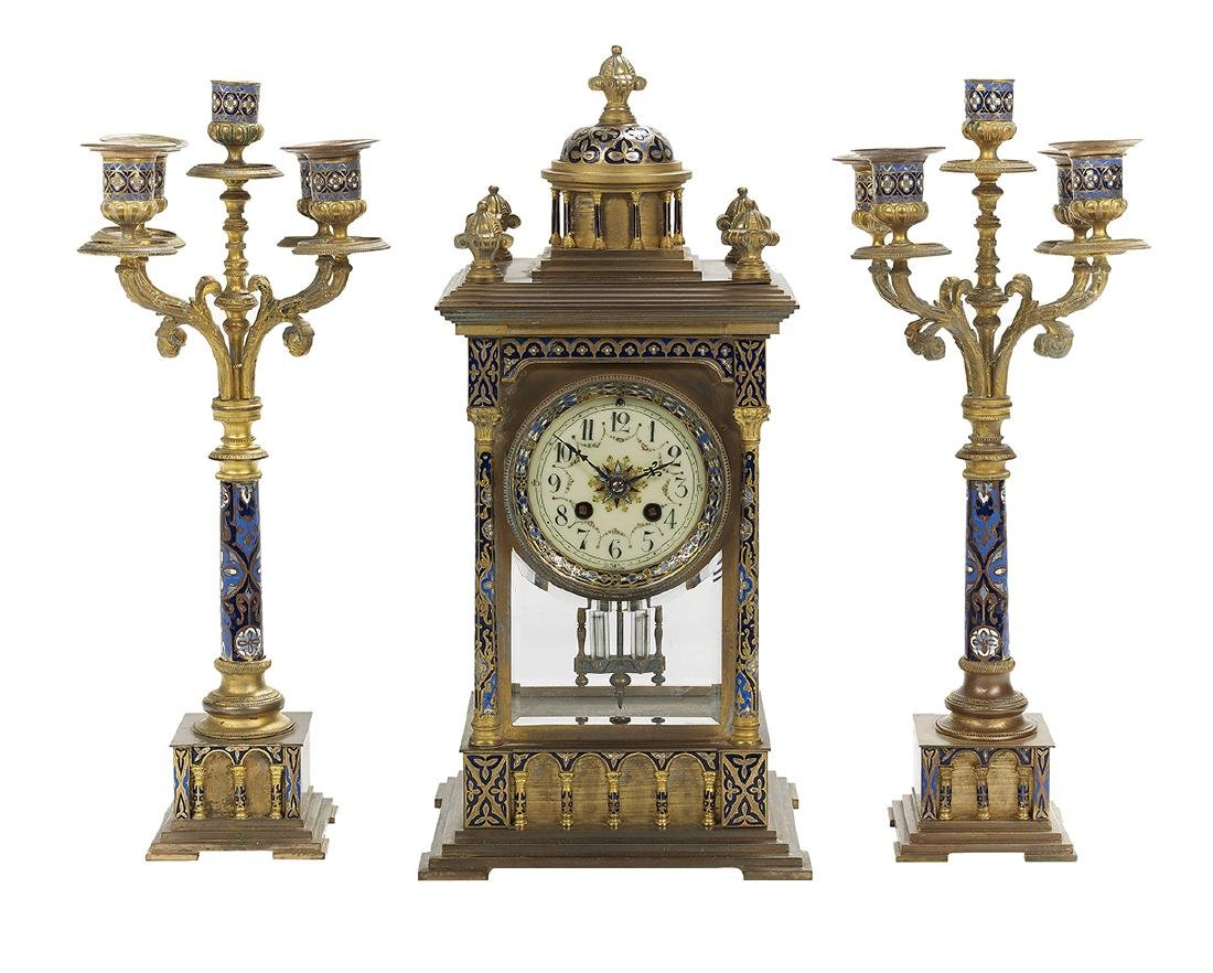French Bronze and Enamel Three-Piece Clock Set