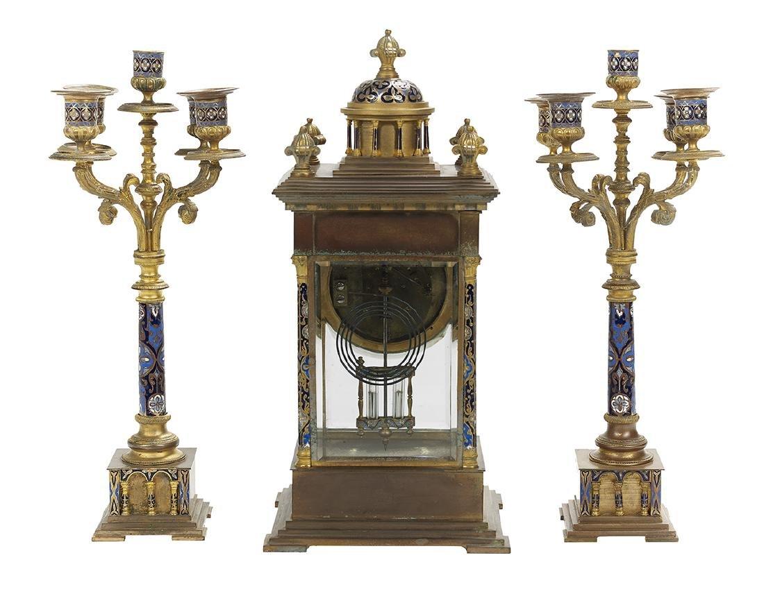 French Bronze and Enamel Three-Piece Clock Set - 2