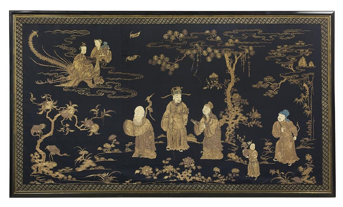 Large Chinese Embroidered Wall Panel