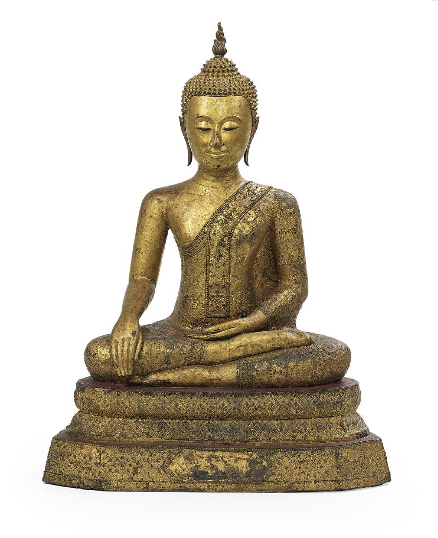 Thai Bronze Figure of Buddha Maravijaya