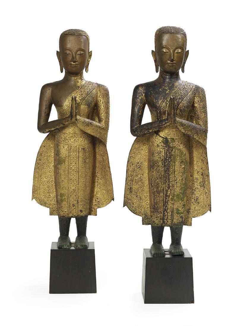 Pair of Thai Bronze Figures of Buddha Shakyamuni