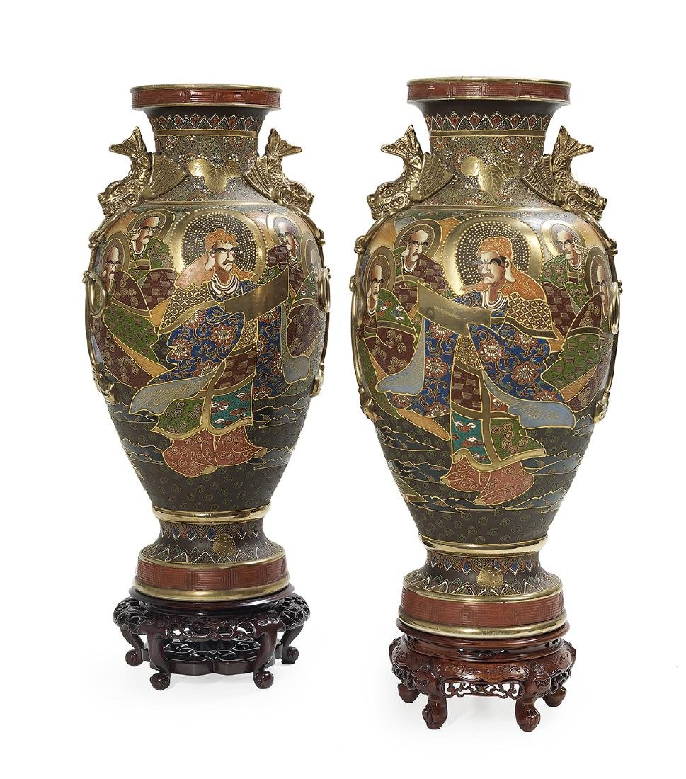 Large Pair of Japanese Satsuma Porcelain Vases