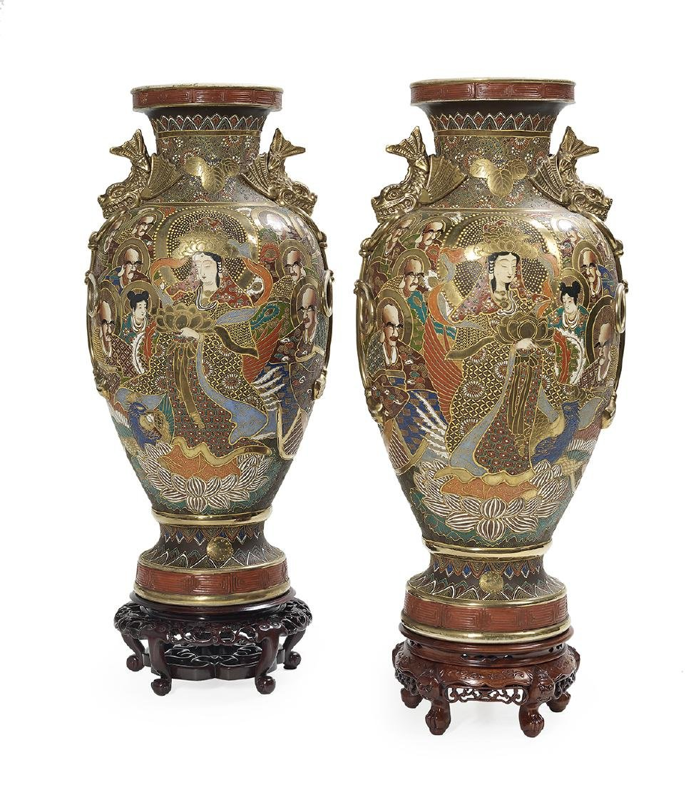 Large Pair of Japanese Satsuma Porcelain Vases - 2