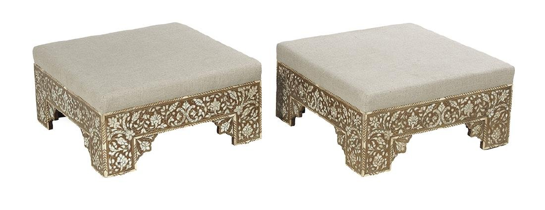 Pair of North African Hardwood and Inlaid Stools