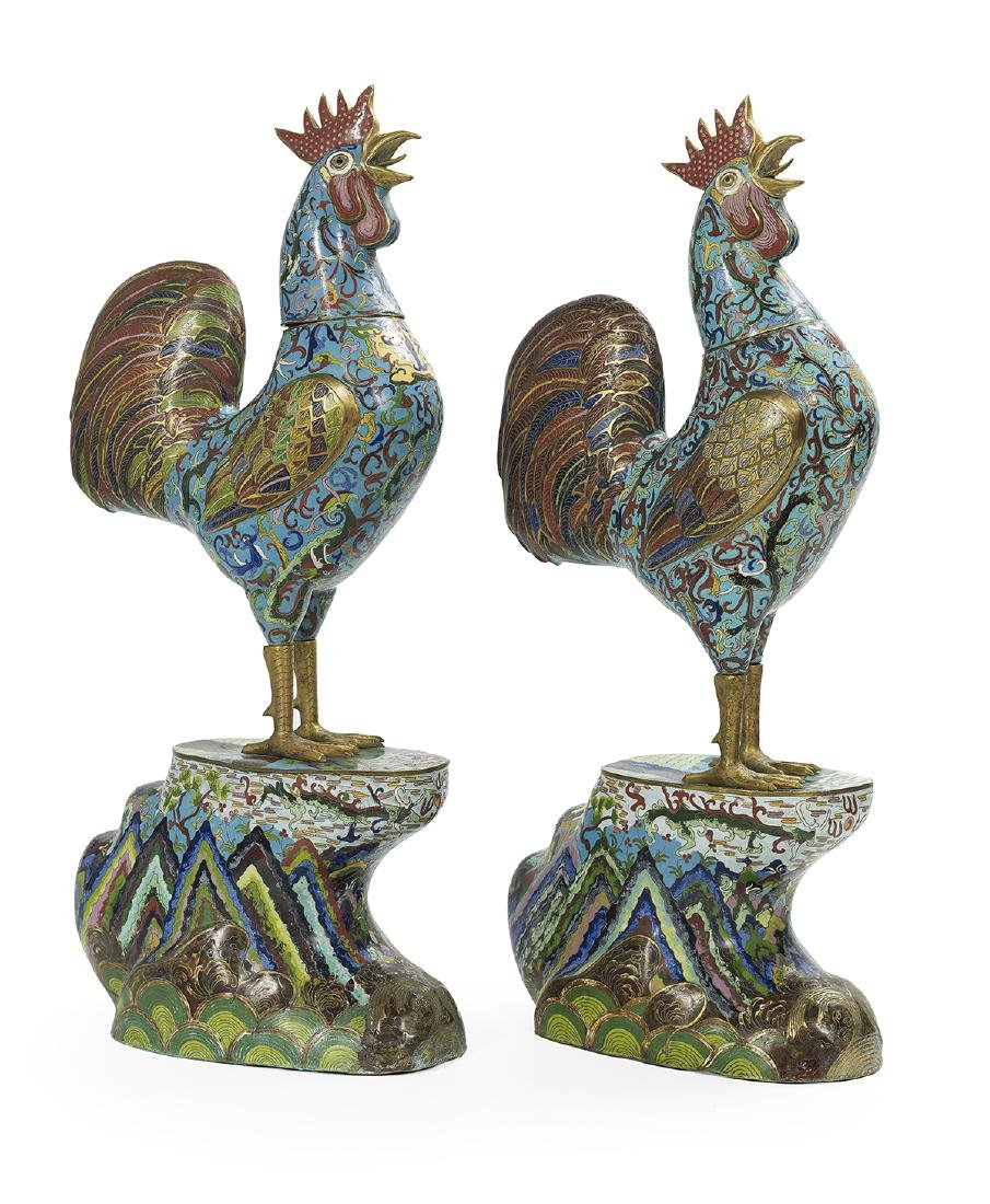 Near Pair of Large Chinese Cloisonne Cockerels