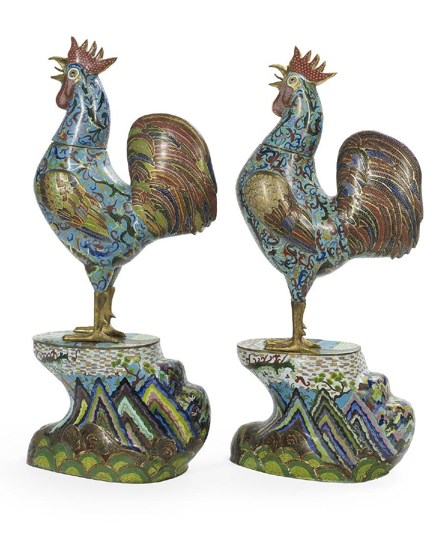 Near Pair of Large Chinese Cloisonne Cockerels - 2