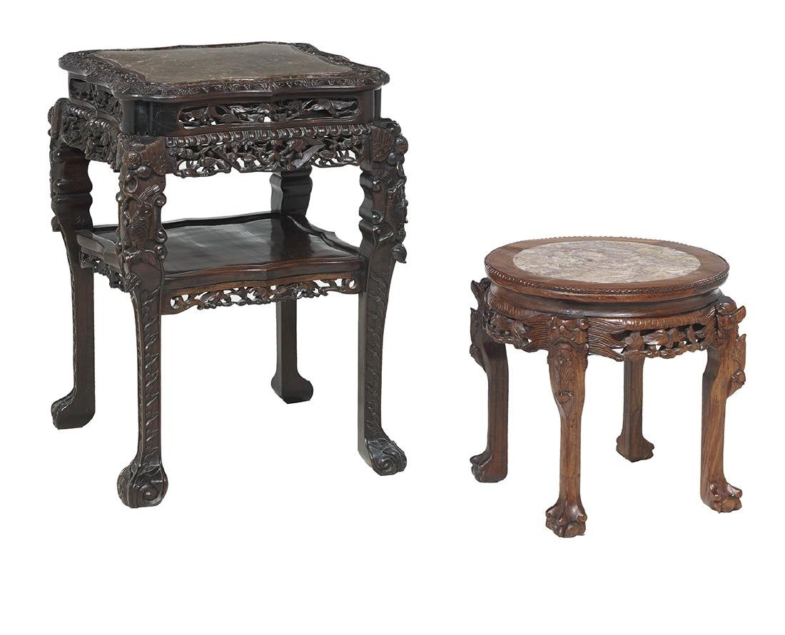 Two Chinese Hardwood and Marble-Top Stands