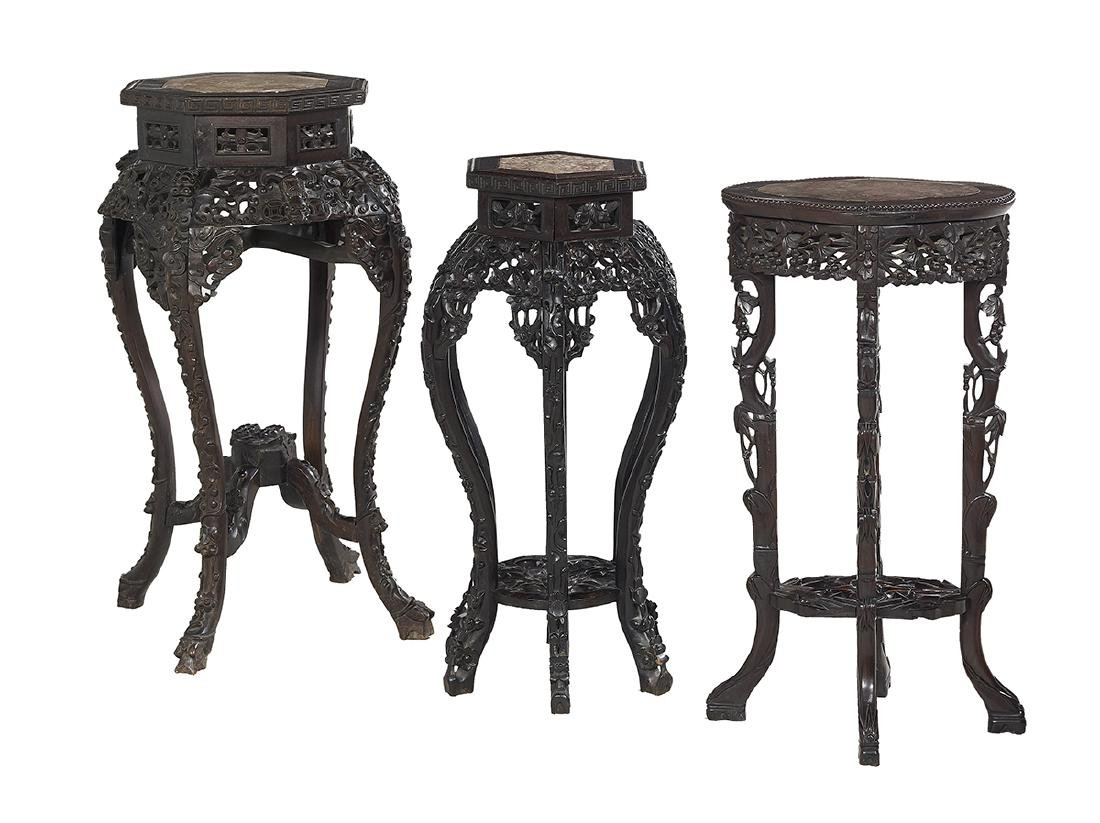 Group of Three Chinese Hardwood Jardiniere Stands
