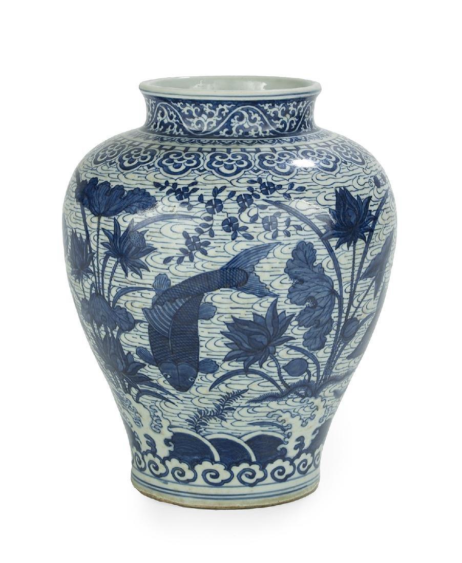"Chinese Blue and White Porcelain ""Fish"" Vase - 2"