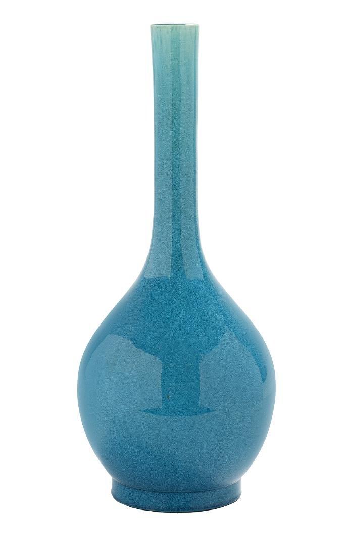 Chinese Turquoise-Glaze Porcelain Bottle Vase