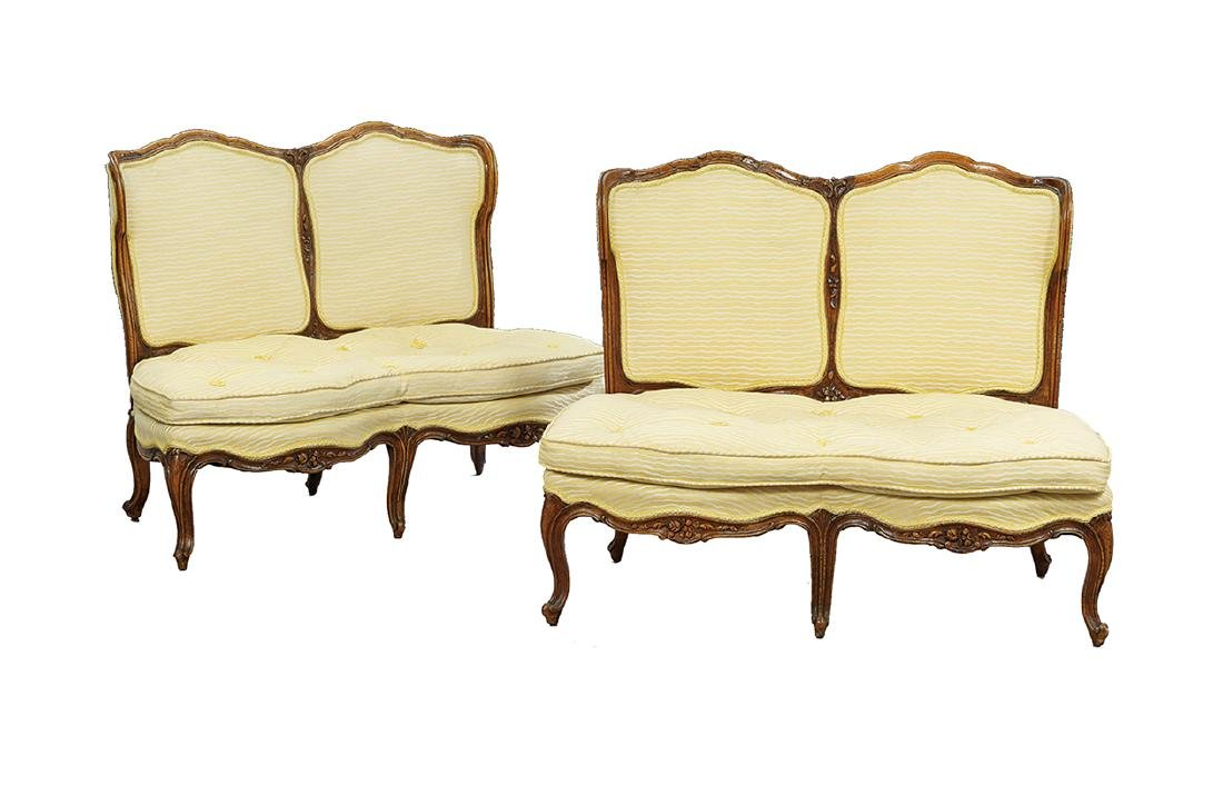 Pair of Louis XV-Style Fruitwood Canapes