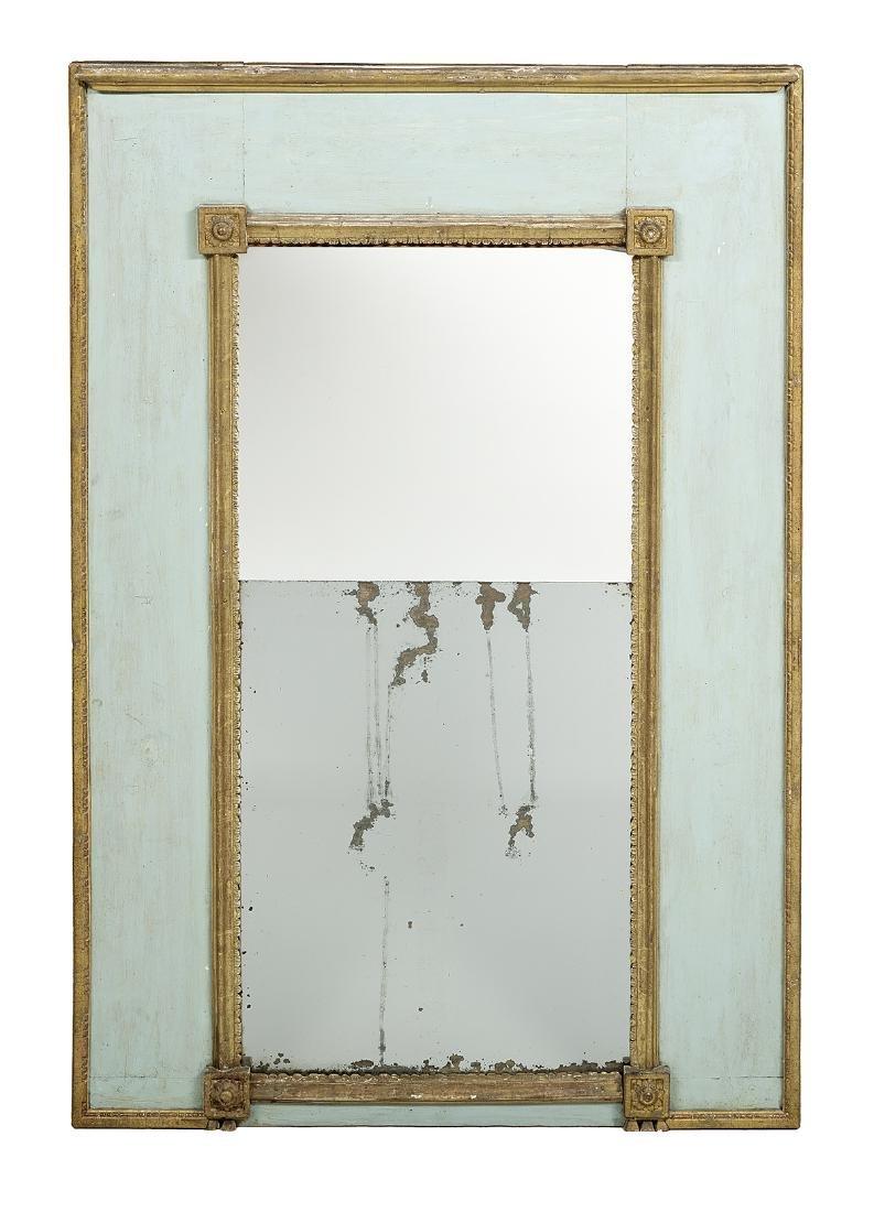 Provincial French Polychrome Trumeau Mirror