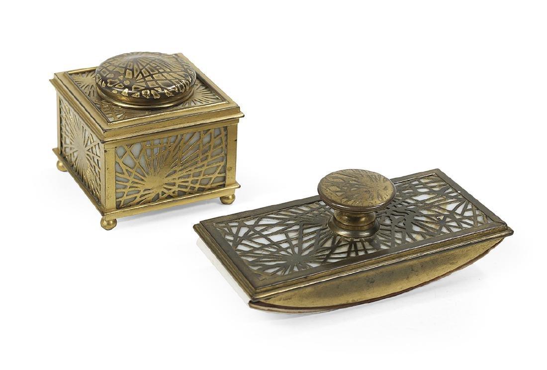 "Two Tiffany ""Pine Needle"" Desk Accessories"