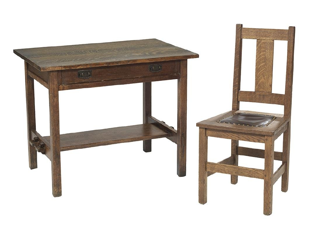 Arts and Crafts Oak Library Table and Chair