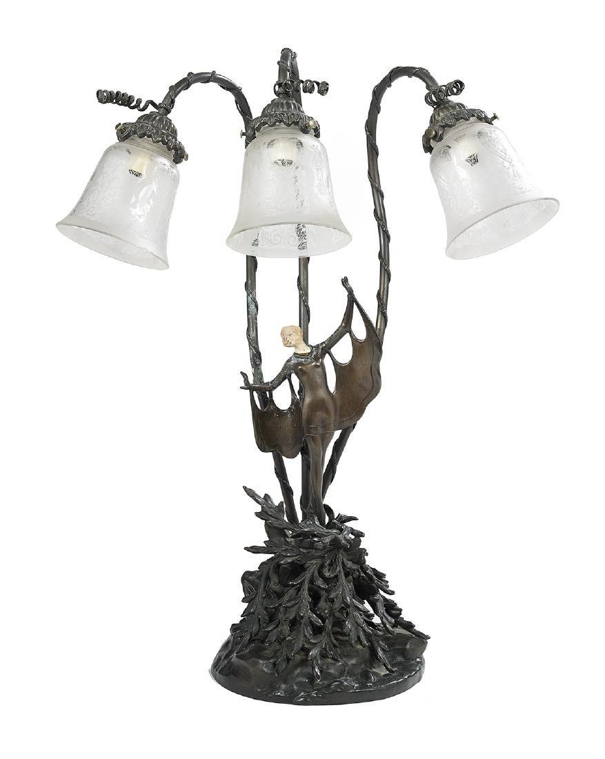 Art Deco Bronze Table Lamp