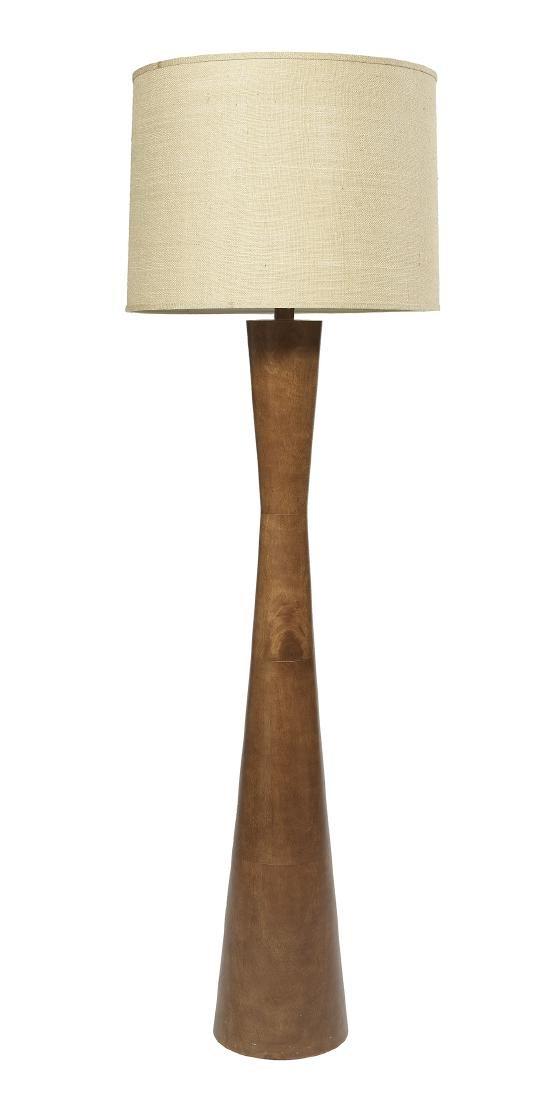 Large Mid-Century Modern Walnut Floor Lamp