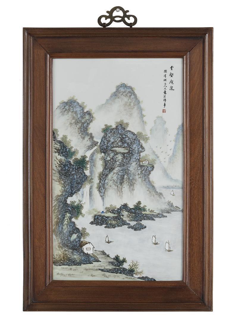 Framed Chinese Porcelain Plaque