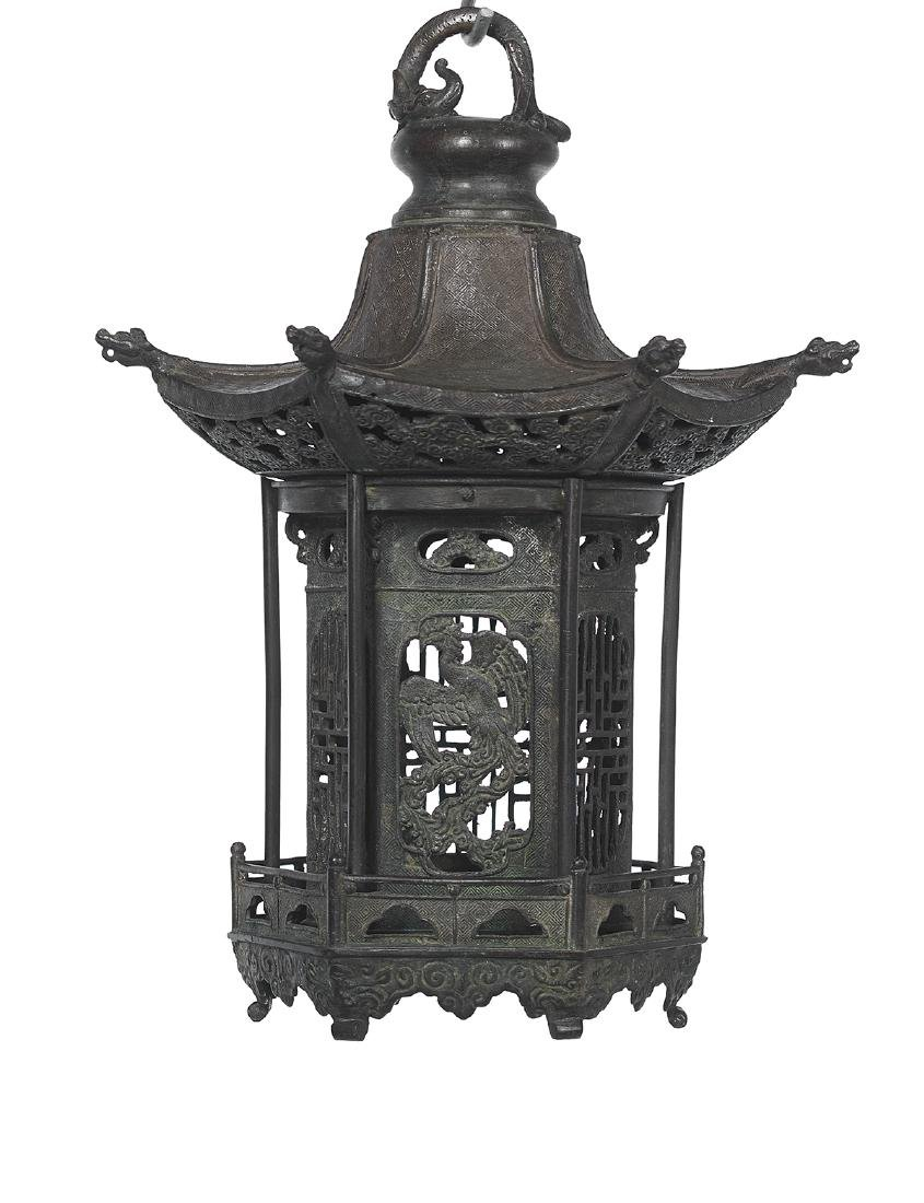 Japanese Patinated Metal Garden Lantern