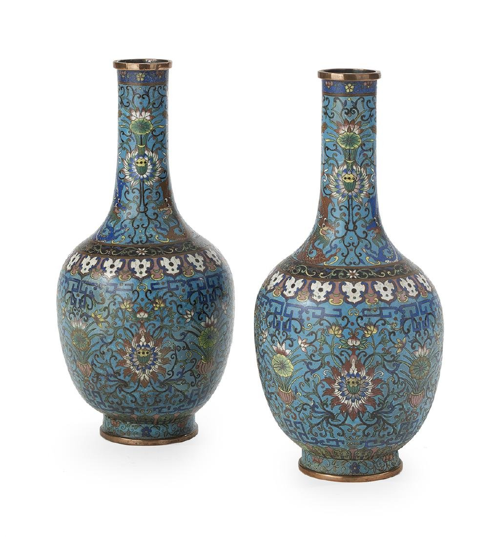 Pair of Chinese Cloisonne Bottle Vases