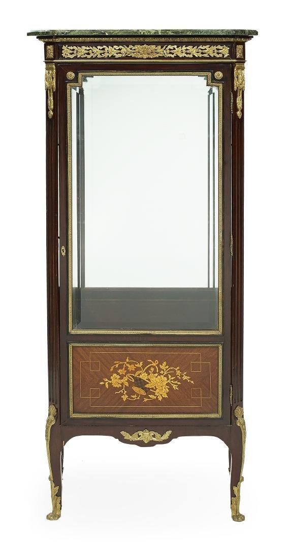 Louis XVI-Style Inlaid Marble-Top Vitrine