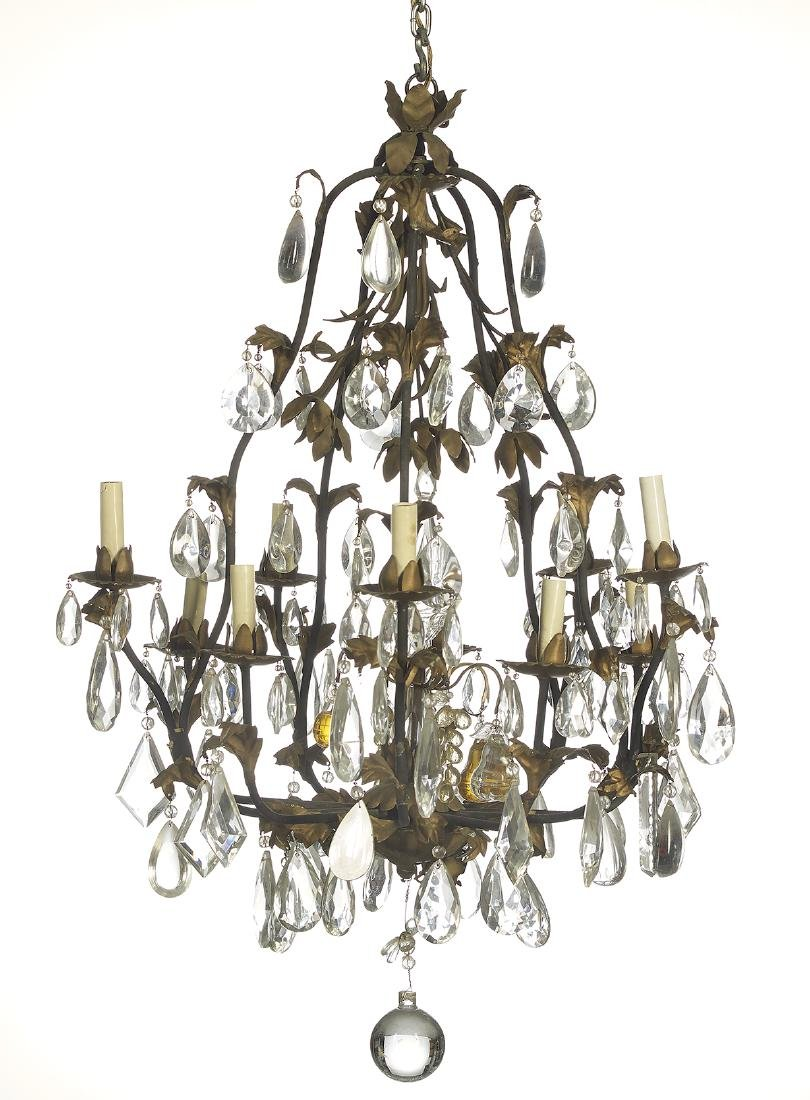 French Iron and Stamped Metal Chandelier