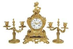 French GiltBronze ThreePiece Clock Set