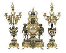 French ThreePiece Brass and Marble Clock Set