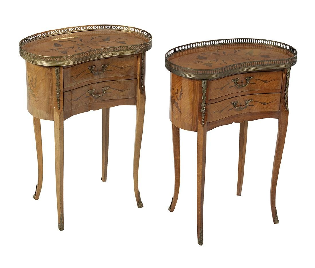 Pair of Louis XV-Style Marquetry-Inlaid Stands