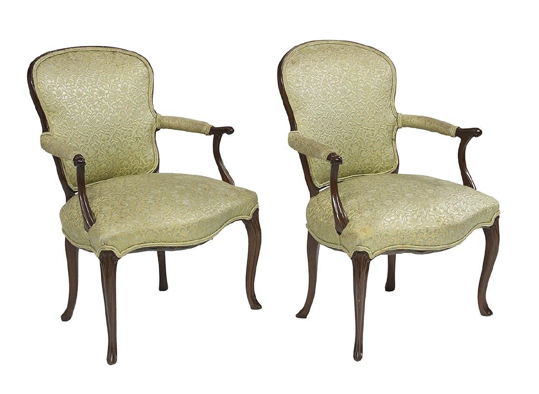 Pair of Queen Anne-Style Mahogany Armchairs