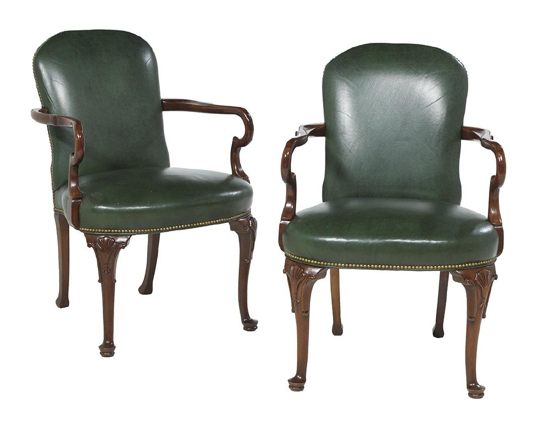 Pair of Queen Anne-Style Mahogany Library Chairs