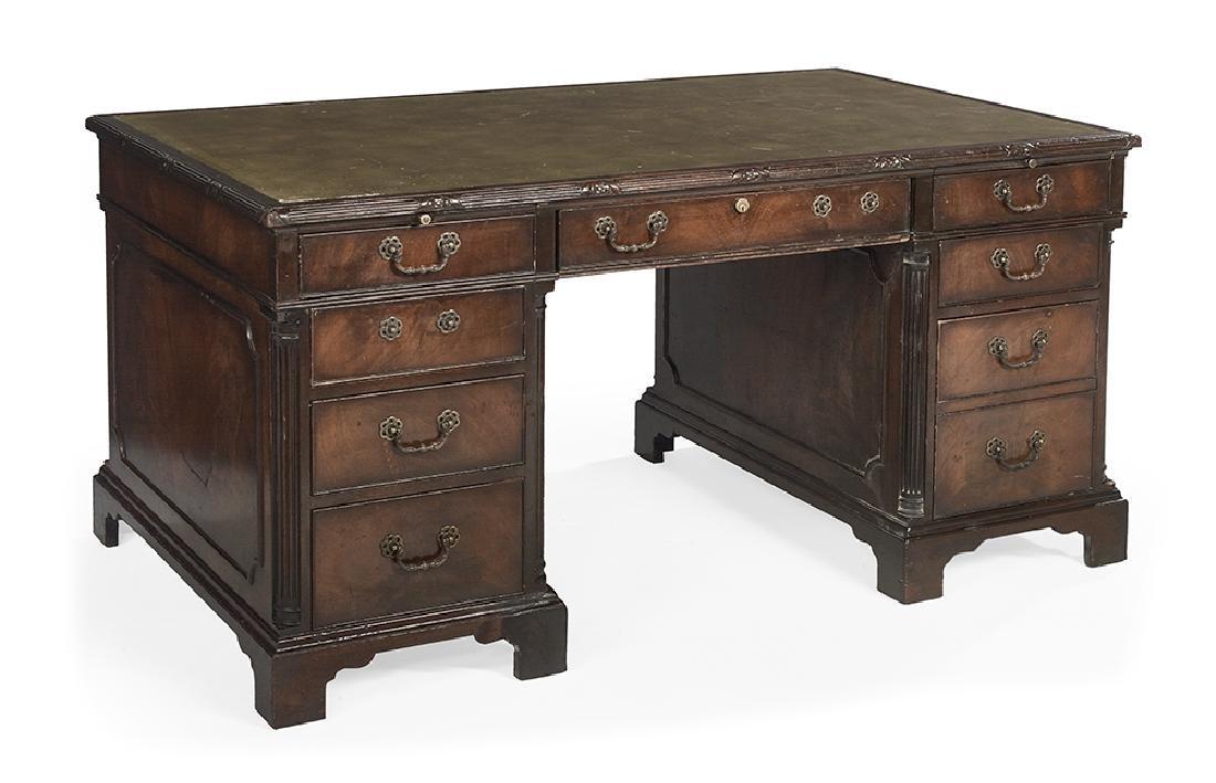 George III-Style Mahogany Pedestal Desk