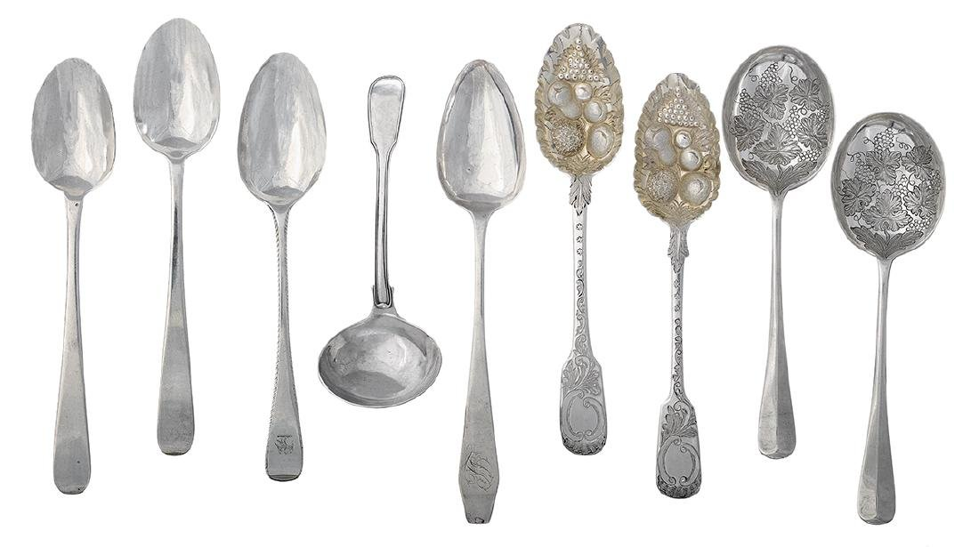 Nine English and American Silver Spoons