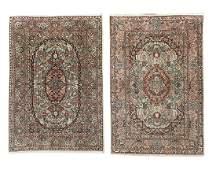 Two Silk Qum Carpets