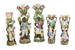 Collection of Five Barbotine Majolica Vases