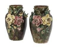 Pair of French Barbotine Majolica Vases