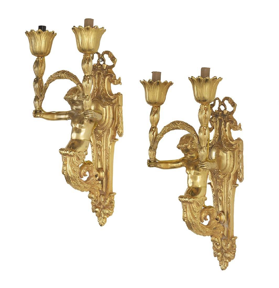 Pair of Louis XIV-Style Gilt-Bronze Sconces