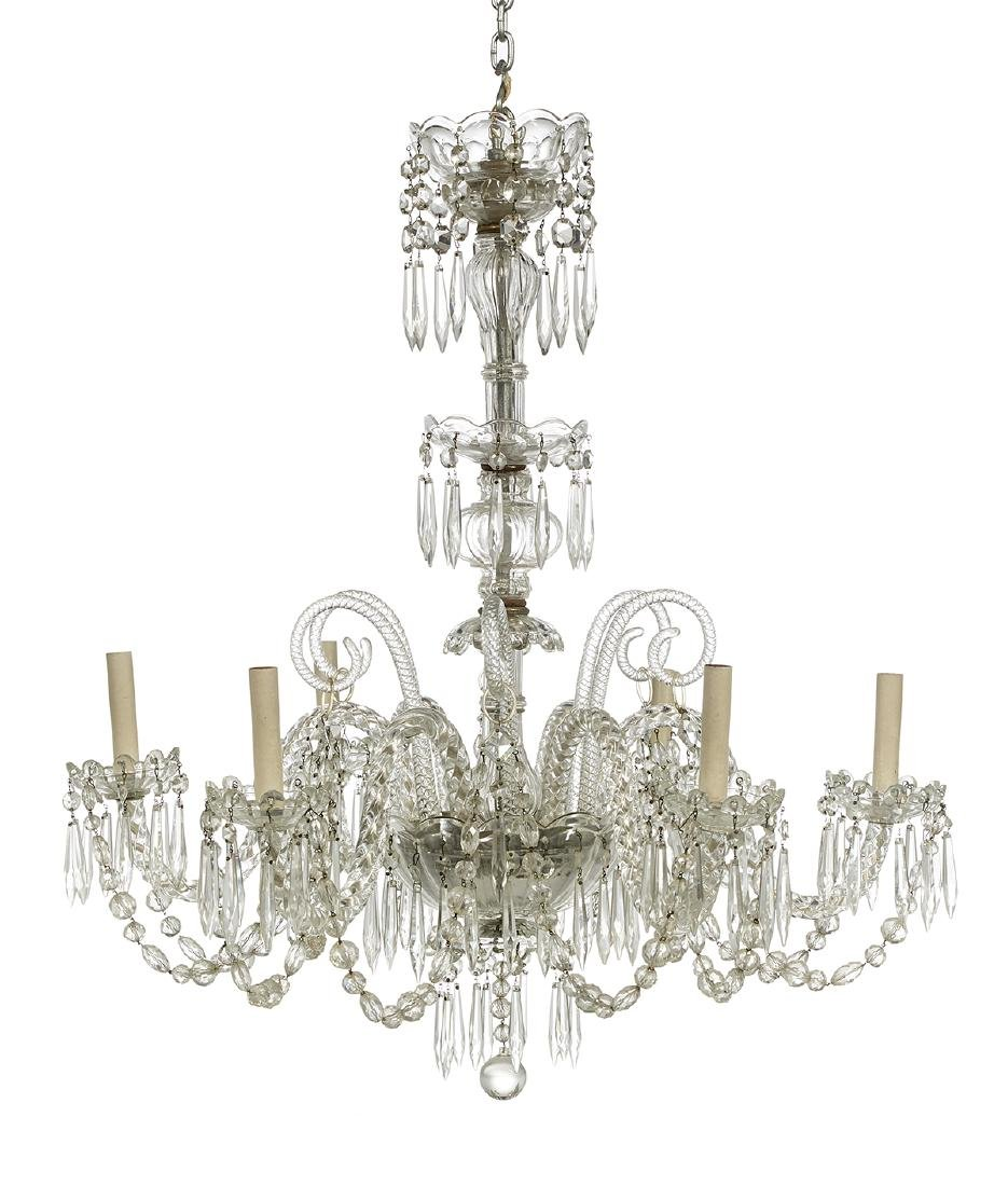 French Molded Glass Chandelier