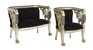 Two-Piece Late Victorian Polychrome Salon Suite