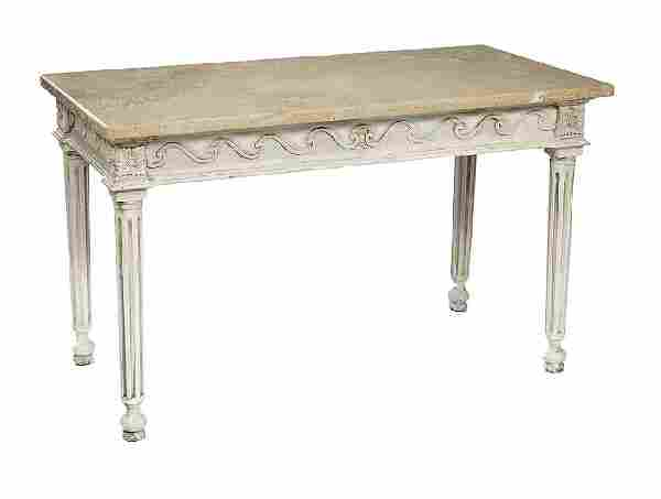 Continental Polychromed and Granite-Top Table