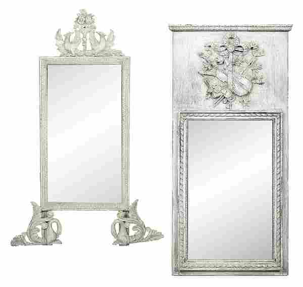Two White-Painted Mirrors