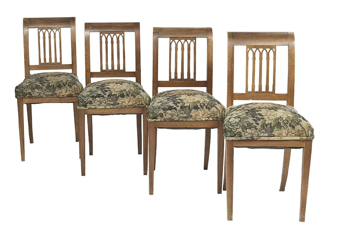 Four Baltic Neoclassical Fruitwood Dining Chairs