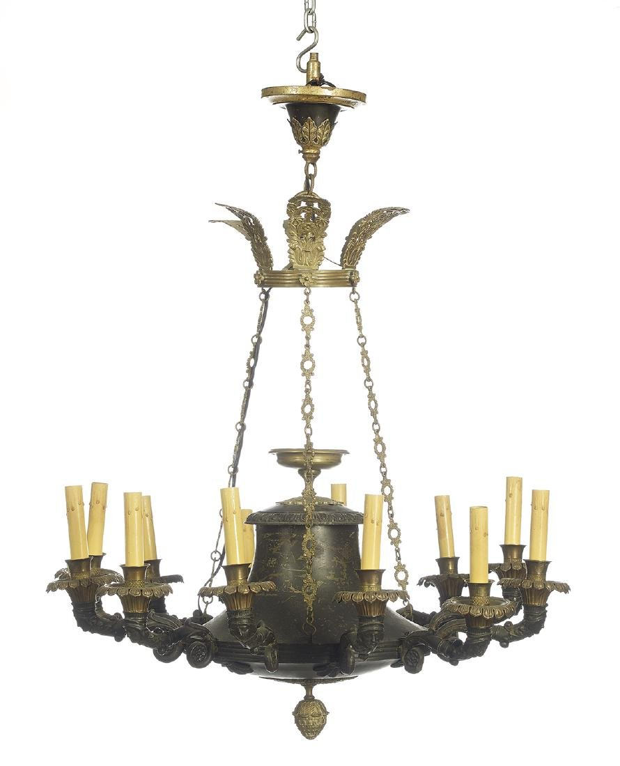 French Empire-Style Tole and Brass Chandelier