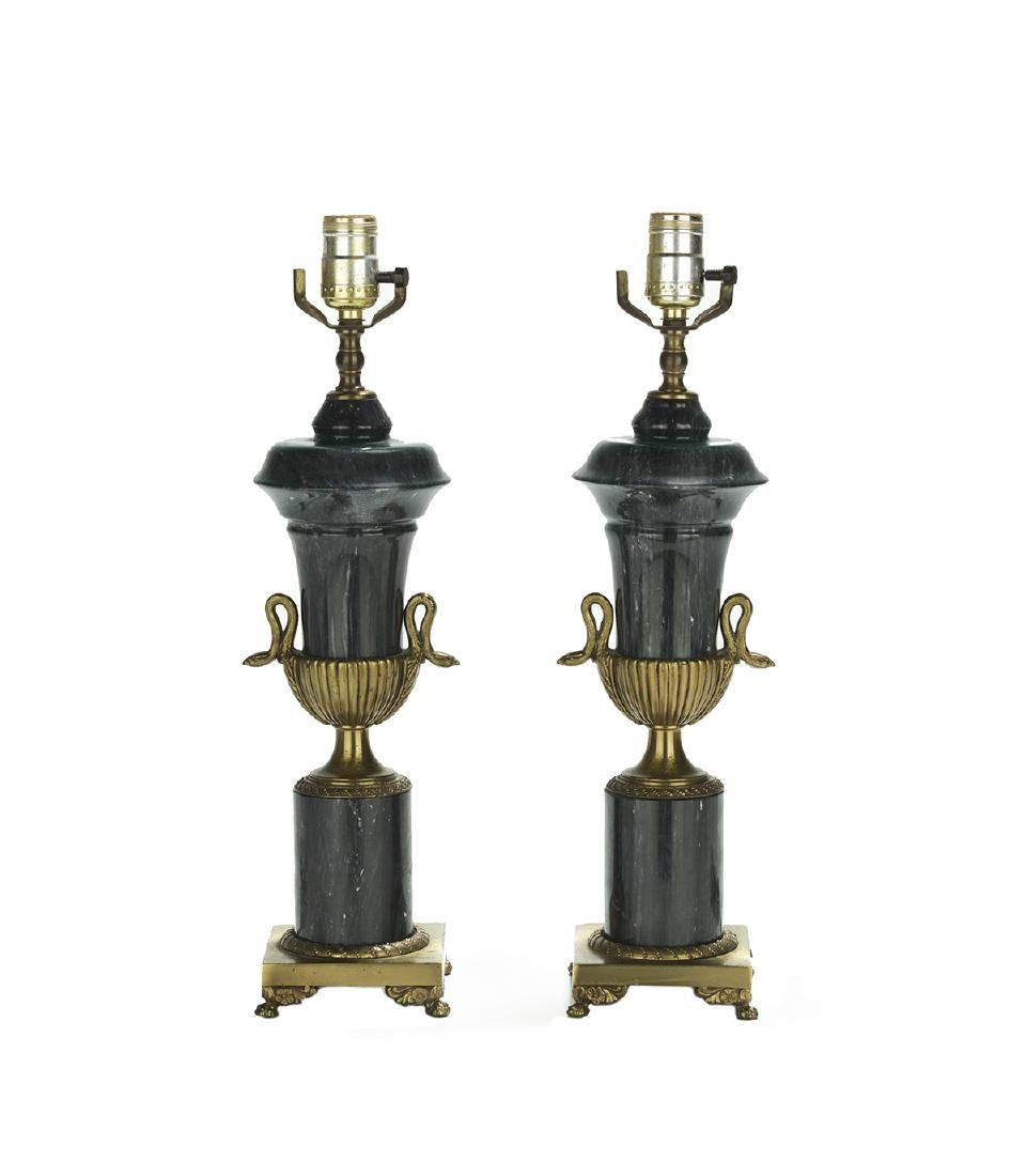 Pair of French Marble and Bronze Urn-Form Lamps