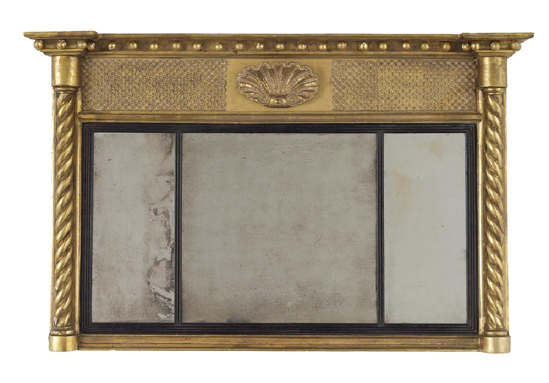 Regency Giltwood Three-Part Overmantel Mirror