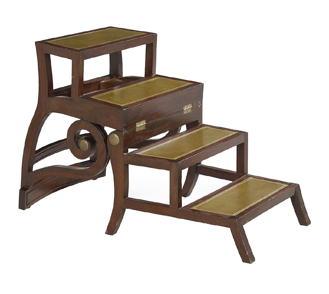 Regency-Style Mahogany Metamorphic Library Chair - 3