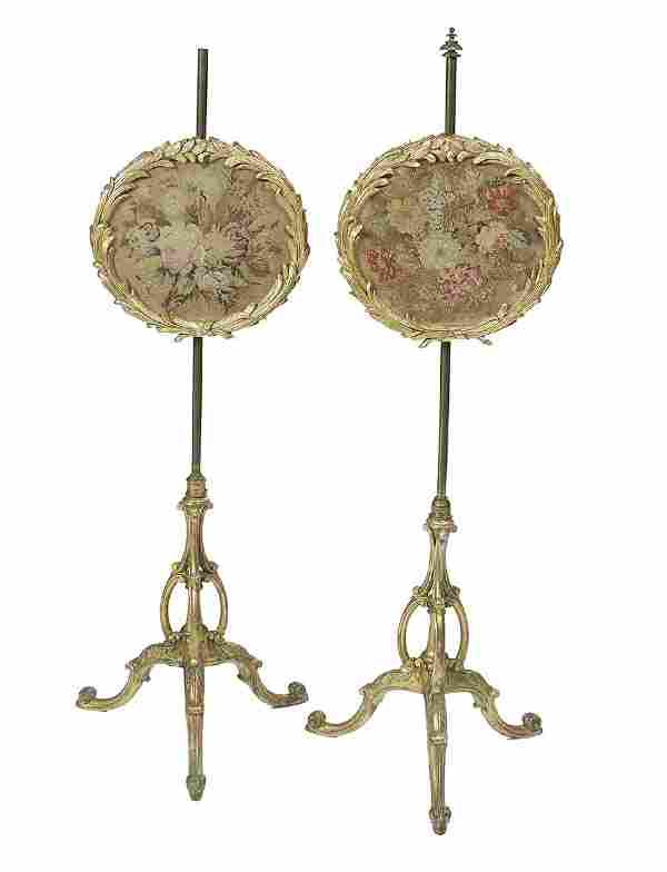 Pair of William IV Tapestry Pole Screens
