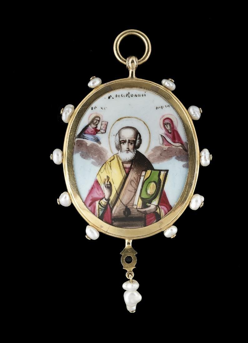Gold and Enamel Pendant of St. Nicholas